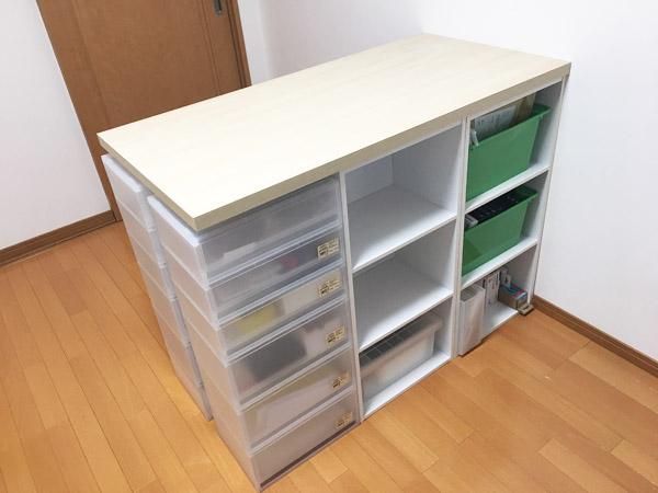 【DIY】カラーボックスとIKEAの天板でキッチンカウンター風収納を作ってみた#作業環境最適化計画