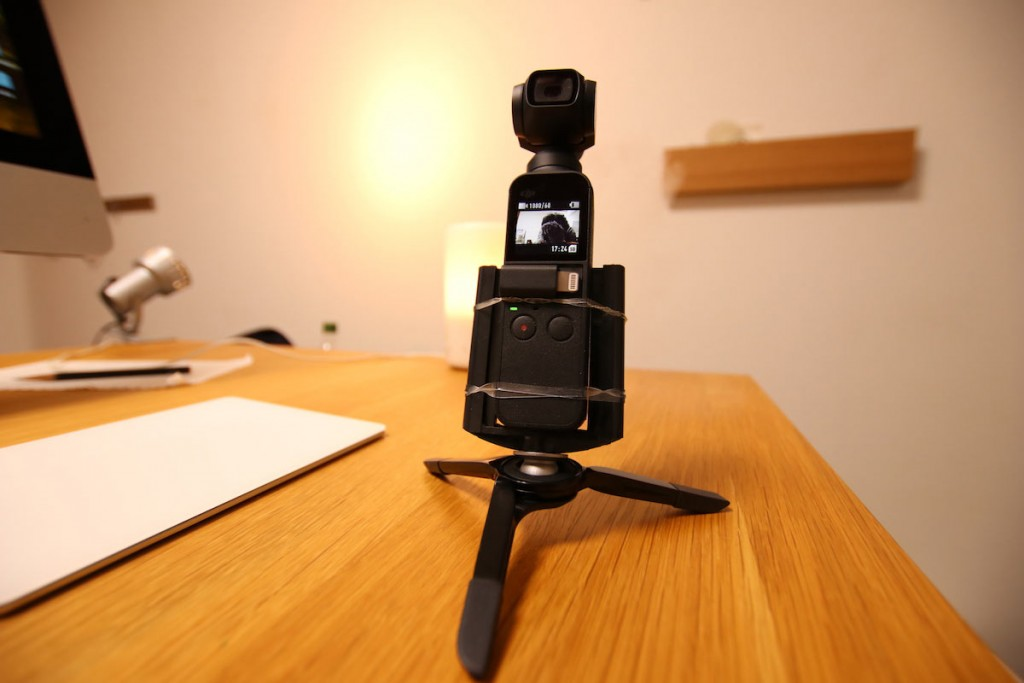 【Osmo Pocket】100均グッズで三脚&自撮り棒にマウントする方法